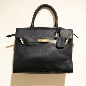 Calvin Klein Black Brooke Leather Shoulder Bag